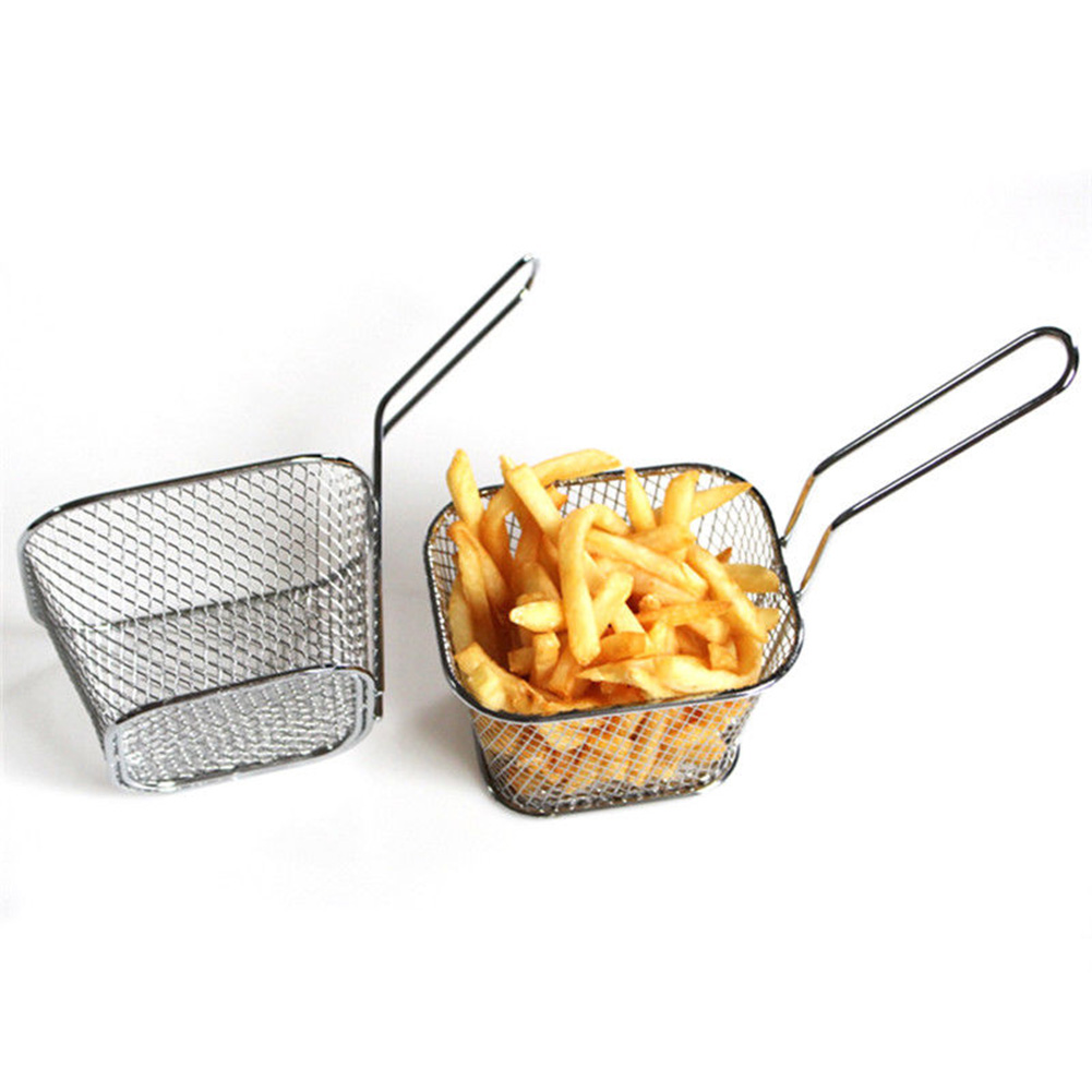 2018 Chips Fry Baskets Stainless Steel Fryer Basket Strainer Serving Food Presentation Cooking Tool French Fries Basket