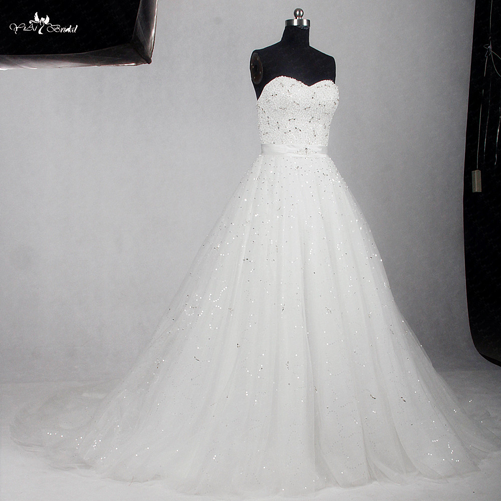 RSW1154 Sweetheart Neckline A Line Bling Ball Gown Wedding Dress ...