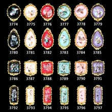 200pcs/pack Nail Crystal Gems Strass Stones For Nails Art 3774-3797 Charms Gem Alloy Rhinestones Jewelry 7*8MM GEM