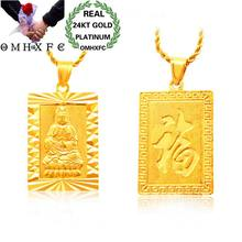 OMHXFC Wholesale European Fashion Male Party Birthday Wedding Gift Rectangle GuanYin FU Word 24KT Real Gold Charm Pendant PN237(China)
