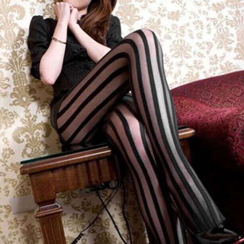 Women's Vintage Sexy Black Vertical Stripes Pattern Stretchy Tights Pantyhose