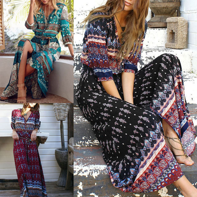 Women Bohemia V-neck Three Quarter Sleeve Floral Print Ethnic Autumn Beach Boho Long Dress Retro Hippie Vestidos Boho Dress 1