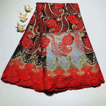 Most Red African Embroidered 3d Flowers Net beads Lace High Quality French Lace Fabric Nigerian Lace Fabrics for Wedding