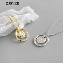 ZJSVER Fine Jewelry 925 Sterling Silver Necklace Irregular Bump Round Pendant Minimalist Golden/Silver Women Chain Necklace цена 2017