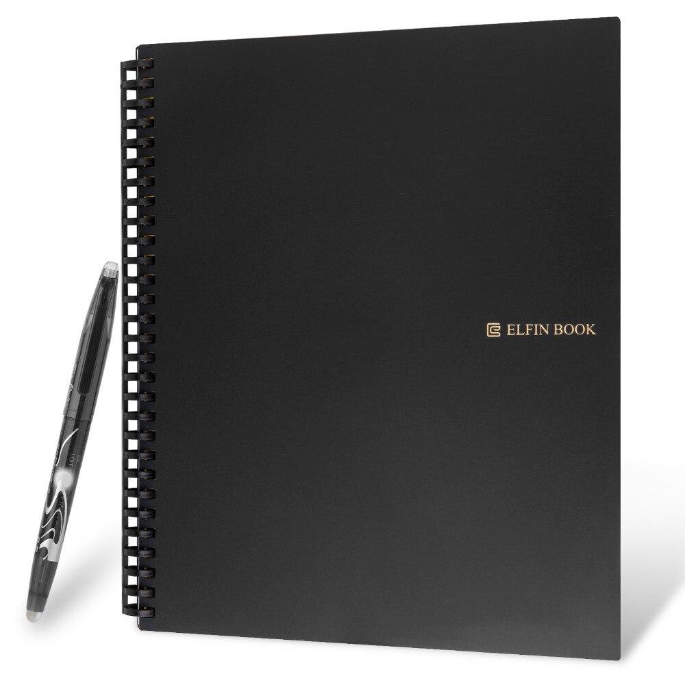 Elfinbook 2.0 Inteligente Reutilizável Notebook Apagável Microondas Onda Nuvem Notepad bloco de Notas Forrado Com Caneta Erase