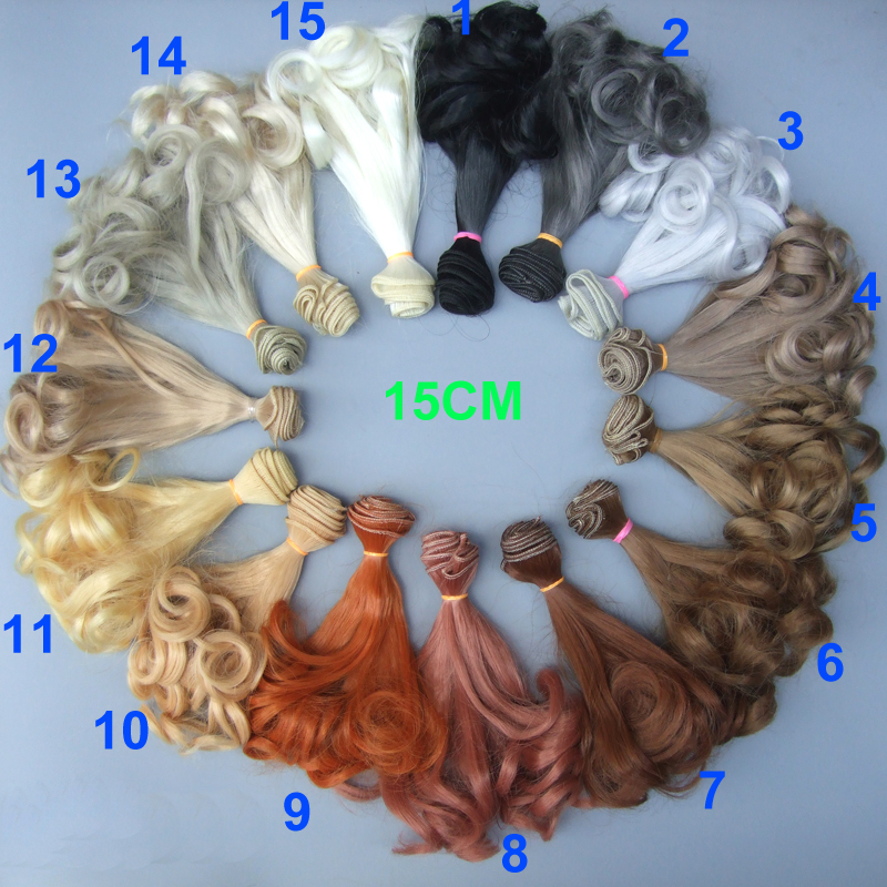 1pcs 15cm refires curly bjd hair for 1/3 1/4 BJD diy doll wigs 1pcs 15cm 25cm bjd wigs high temperature wire straight hair piece for bjd sd dollfie
