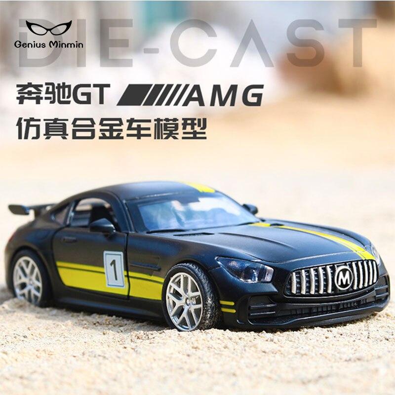 1:32 Mercedes-Benz GTR alloy sports car simulation car model ornaments Boy pull back toy car baking cake ornaments gift action figure pokemon