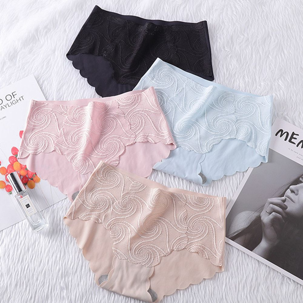 Woman Hot Sale Original Seamless Lace Ruffles Panties One-piece Ultra-thin Ladies Cotton Breathable Sexy Mid-rise Panties
