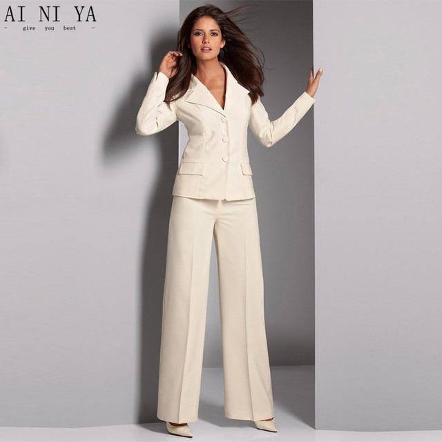 ivory women trouser suit formal ladies elegant pant suit slim fit female office uniform 2 piece. Black Bedroom Furniture Sets. Home Design Ideas