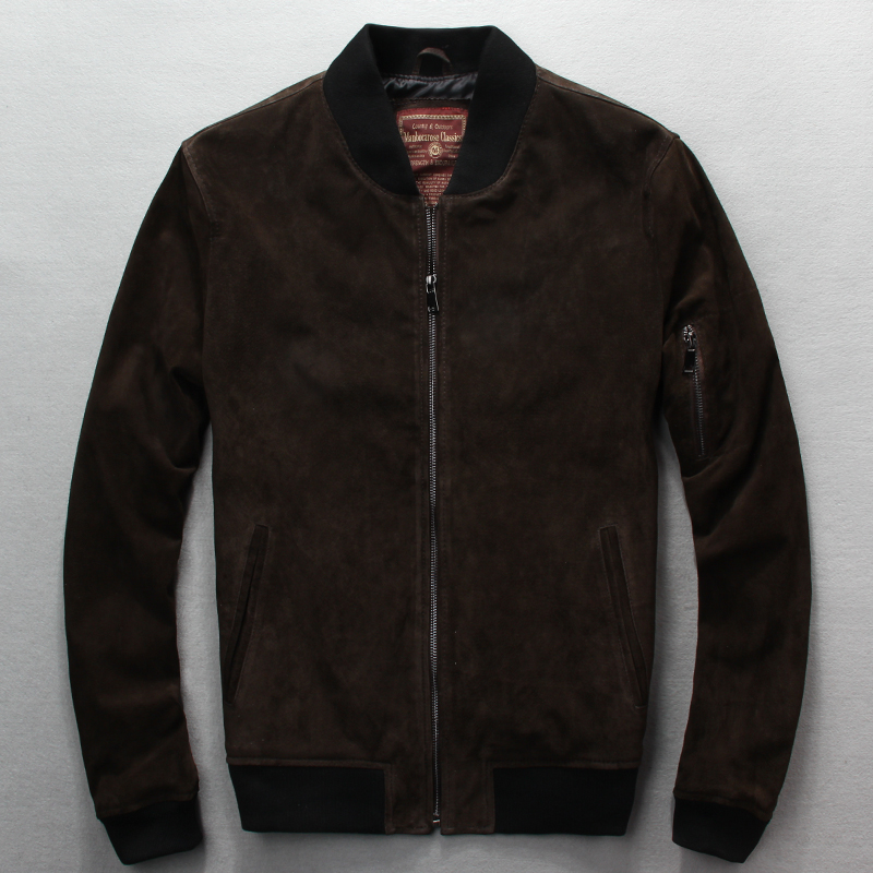 Free shipping.fashion Sales plus size classics quality pigskin jackets,men's genuine pig Suede leather,Brand men jackets free shipping brand a2 style leather clothing plus size man s 100% genuine leather jackets classics mens engraved jacket quality