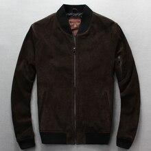 Nemokamas shipping.fashion Parduodamas plius dydis klasikinės kokybės kiaulių švarkai, vyriškos kiaulienos suede odos, firminiai vyriški švarkai