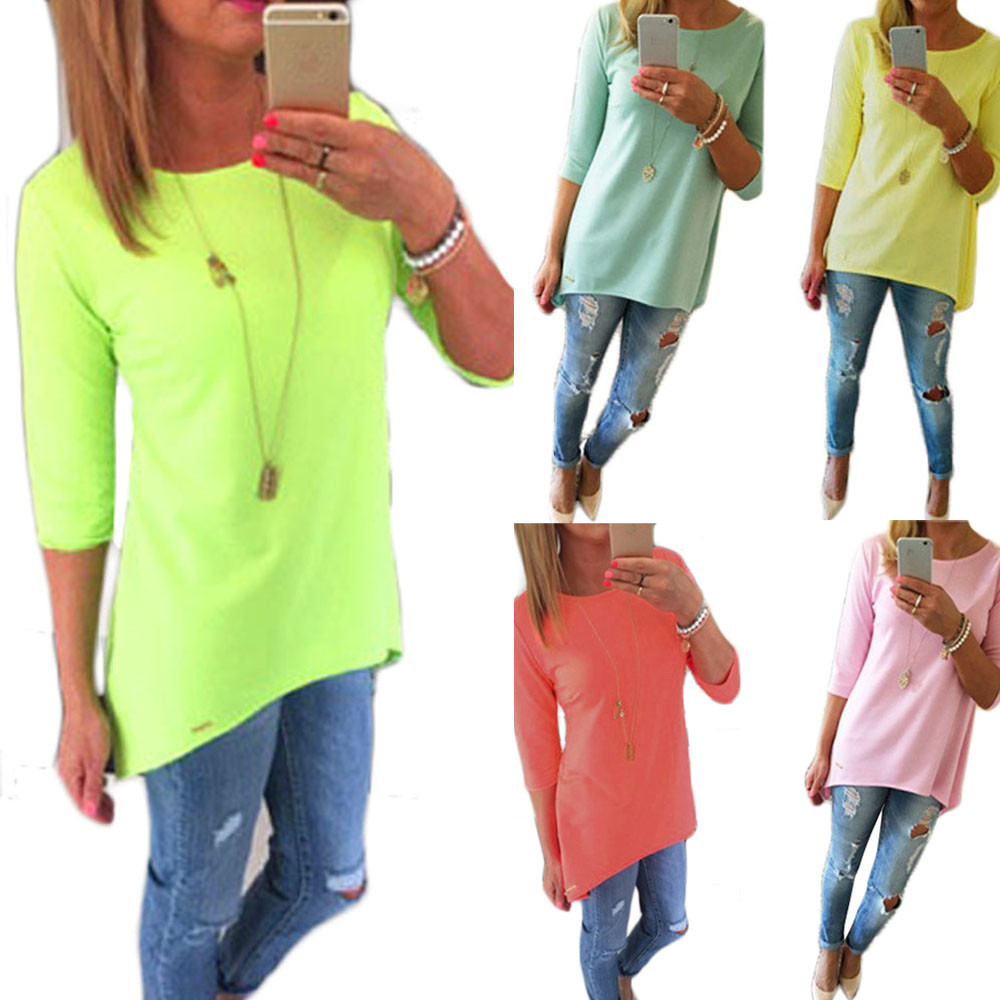 2017 Hot Plus Size Clothes Women Spring Autumn Casual Cotton Tops Seven Sleeves Asymmetric Hem Solid Loose T-shirt Ropa Mujer