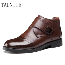 Tauntte Autumn And Winter Men Dress Boots Fashion Keep Warm Plush Snow Boots Genuine Leather Formal Shoes With Fur