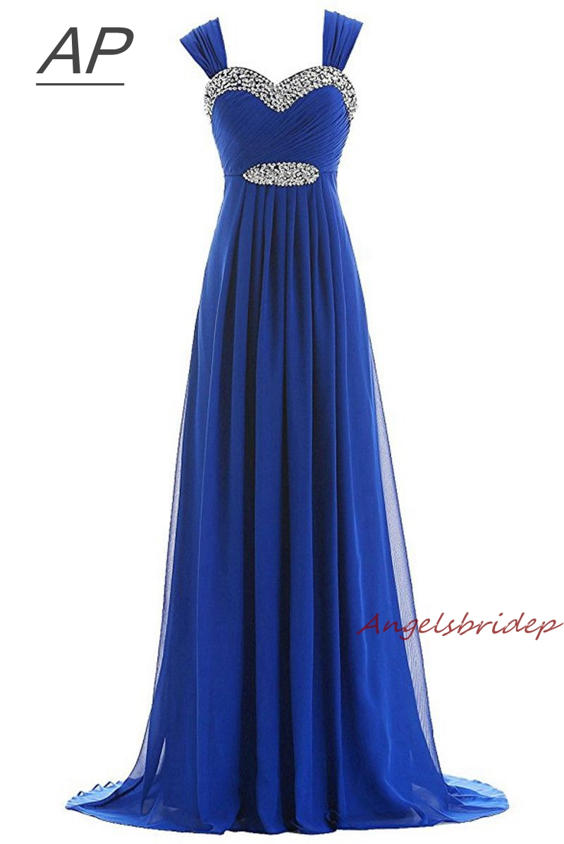 ANGELSBRIDEP Blue Vestido Longo Evening Dress Cap Shoulder Beading Full Length Party Gown Special Occasion Pageant