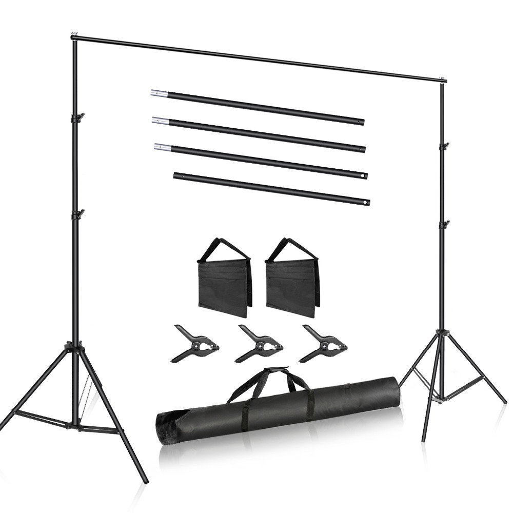 Neewer Photo Studio 10ft/3m Wide Cross Bar 6.6ft/2m Tall Adjustable Background Stand Backdrop Support System +3 Backdrop ClampsNeewer Photo Studio 10ft/3m Wide Cross Bar 6.6ft/2m Tall Adjustable Background Stand Backdrop Support System +3 Backdrop Clamps