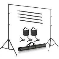 Neewer Photo Studio 10ft/3m Wide Cross Bar 6.6ft/2m Tall Adjustable Background Stand Backdrop Support System +3 Backdrop Clamps