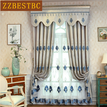 High Quality European Embroidered Villa French Window Blackout Curtains for Living Room Classic Luxury Flat Curtain Bedroom