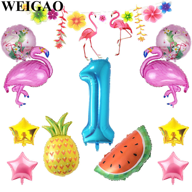 WEIGAO Baby 1st Birthday Balloons Summer Flamingo Party Luau Tropical Fruit Balloon Baby Shower First Birthday Decor Supplies