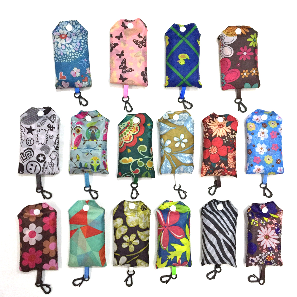 Women Nylon Foldable Portable Laundry Shopping Bag Floral Printing Reusable Large Oxford Cloth Single Shoulder Bag Tote Handbag
