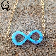 Women Anklets 8 Shape Blue opal Infinity Beach Barefoot Foot fine Jewelry Anklet Chain gift for women gifls