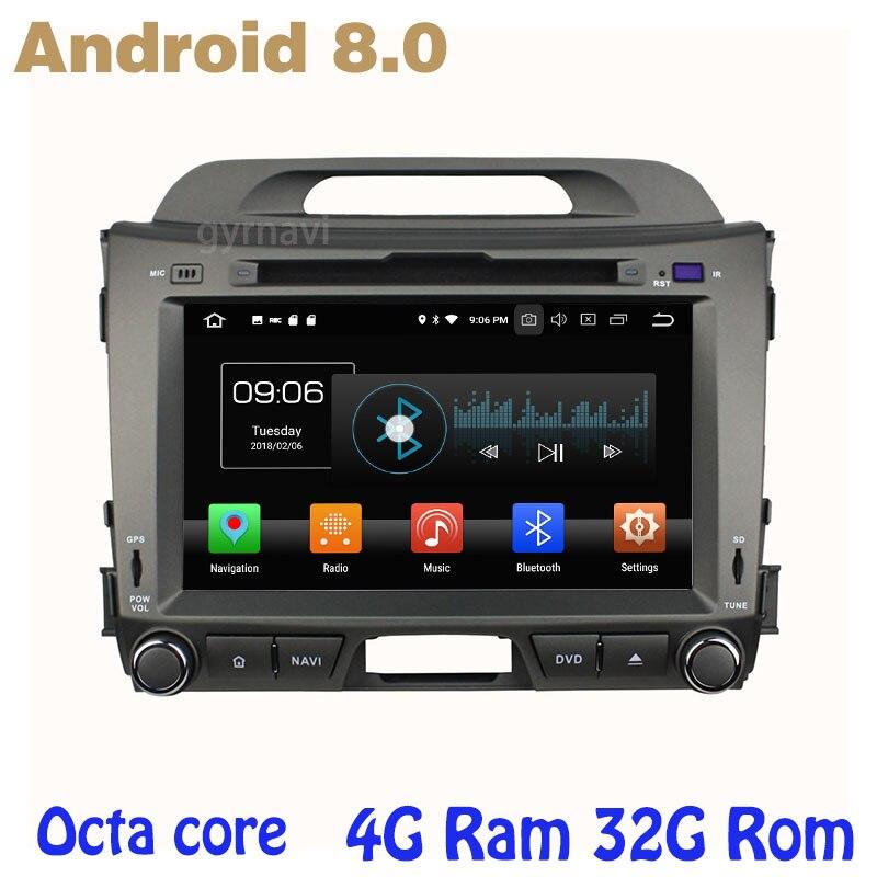 Octa core PX5 Android 8.0 voiture dvd gps pour kia sportage R 2010-2015 avec 4g RAM 32g ROM radio wifi 4g usb auto Multimédia