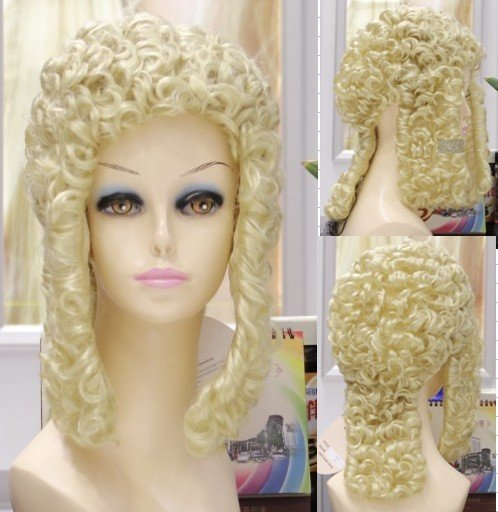 $wholesale_jewelry_wig$ free shipping blonde Womens curly no Fringes Party Hair Judge lawyer wig