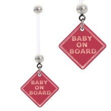 Pregnant Pregnancy Navel Belly Ring Barbell with Baby On Board Sign, 1 Inch Flexible Bar Body Piercing Jewelry(China)