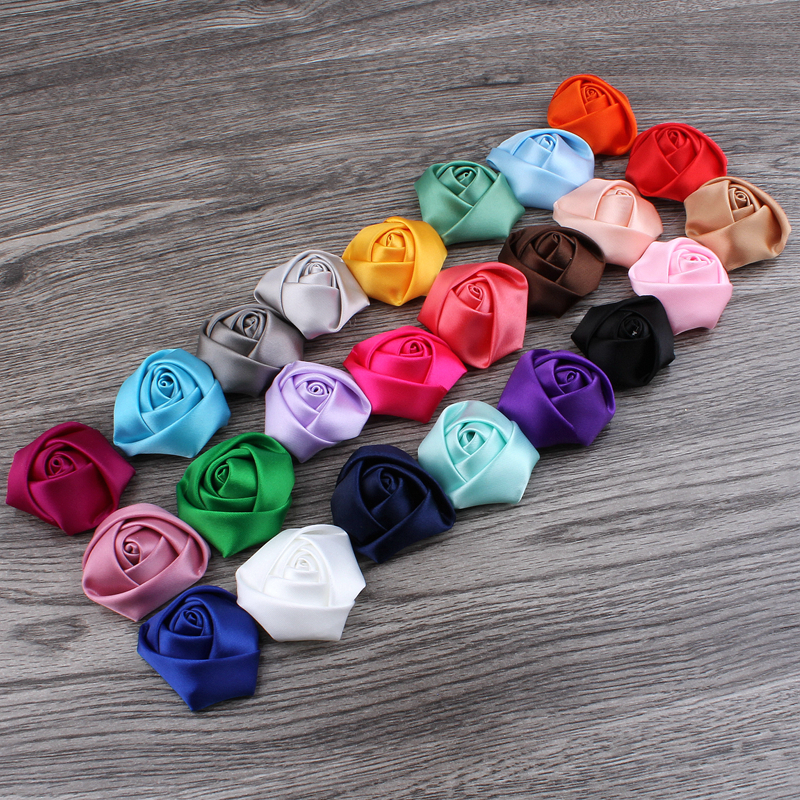 Image 3 - (120pcs/lot) 25 Colors Flat Back Mini Satin Ribbon Rose Flower Accessories Handmade Rolled Rosettes For Hair Clip Or Headband-in Hair Accessories from Mother & Kids