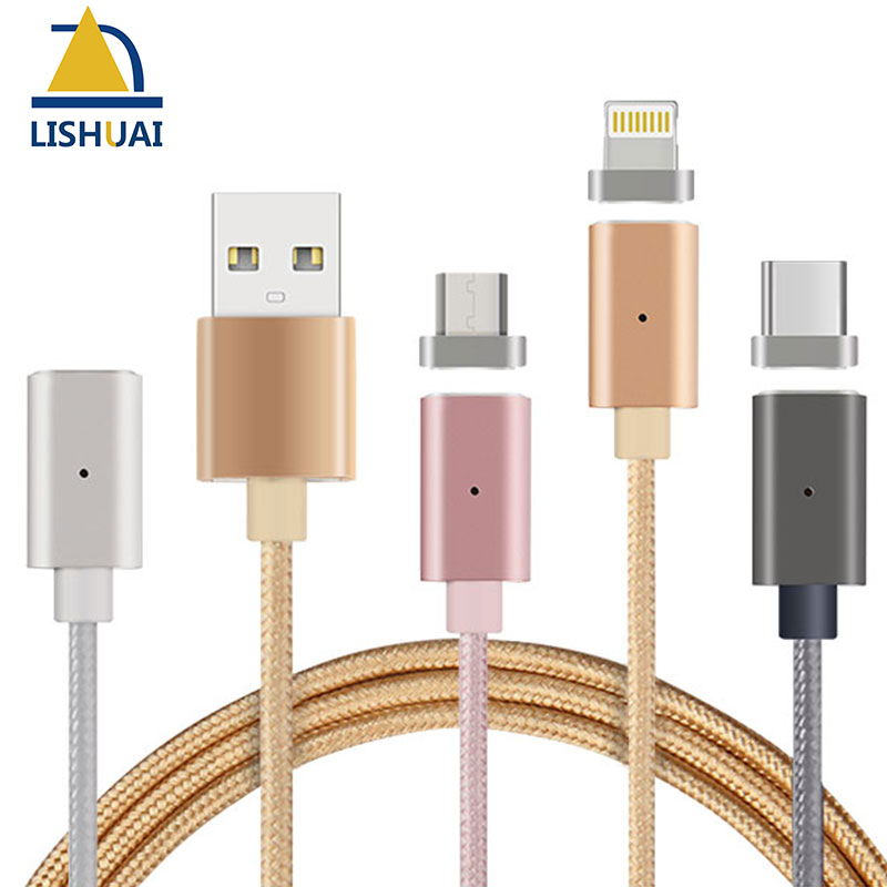Magnetic Cable Nylon Braided Wire Magnectic Cable Data Charge Cable Magnet Fast Charging Cable for Iphone/Micro USB/Type-C