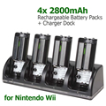 4 x 2800mAh Rechargeable Battery Packs + Charger Dock Stand Station for WII Remote
