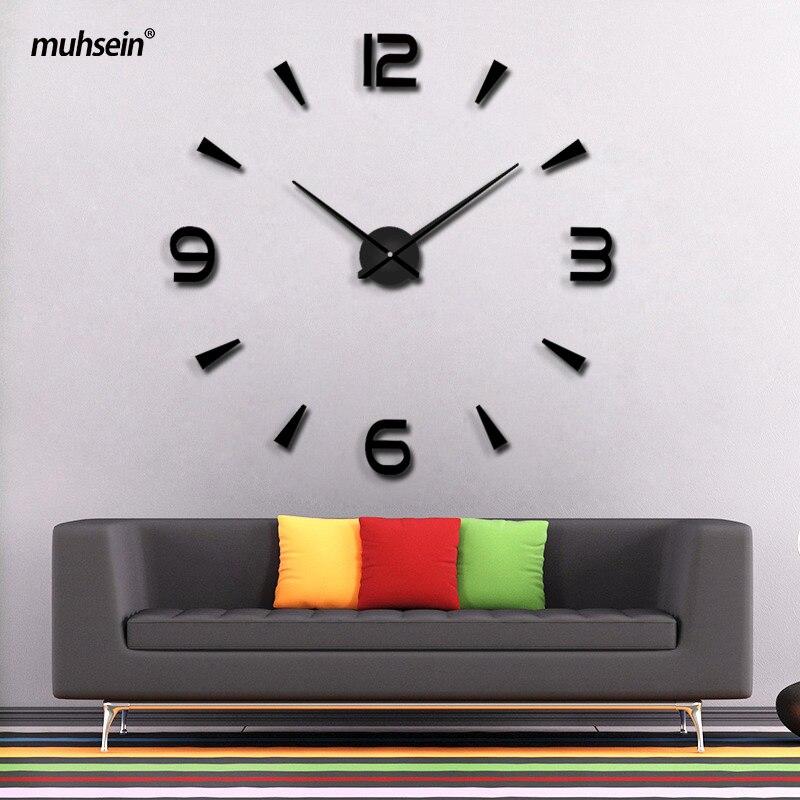 2018 Nouvelle Haute Qualité 3D Stickers Muraux saat Créatif Mode Salon Horloges Décoration De La Maison Grande Horloge Murale duvar saat