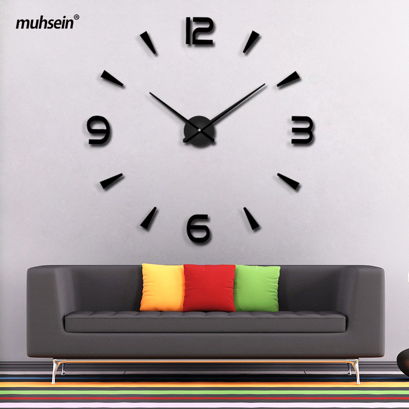 2019 New High Quality 3D Wall Stickers Saat Creative Fashion Living Room Clocks Home Decoration Large Wall Clock Duvar Saat