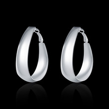 Wholesale 925 Jewelry Silver Earring Fashion Solid U Shaped Earrings for Women Party Girls Gifts