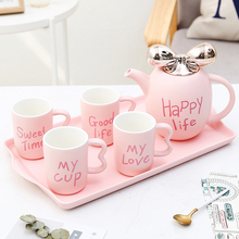 Europe bone china coffee cups Set Britain ceramic tea cup Afternoon home drinkware set pink white