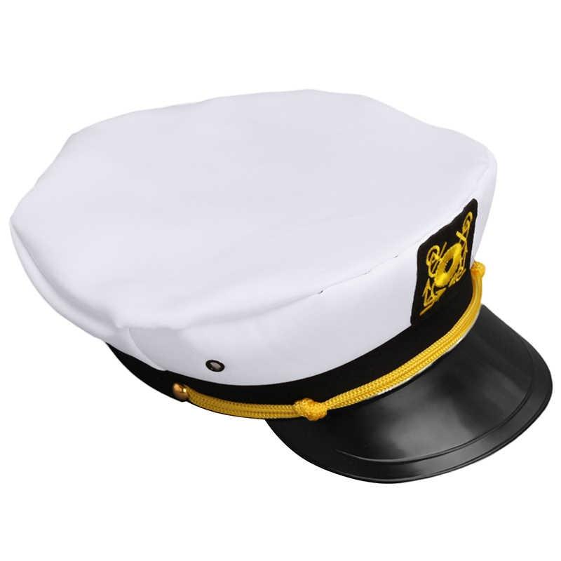 2056bc8edf988 Vintage White Adjustable Skipper Sailors Navy Captain Boating Military Hat  Cap Adult Party Fancy Dress Unisex