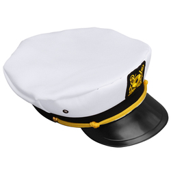 799bb10b05cf3 Vintage White Adjustable Skipper Sailors Navy Captain Boating Military Hat  Cap Adult Party Fancy Dress Unisex