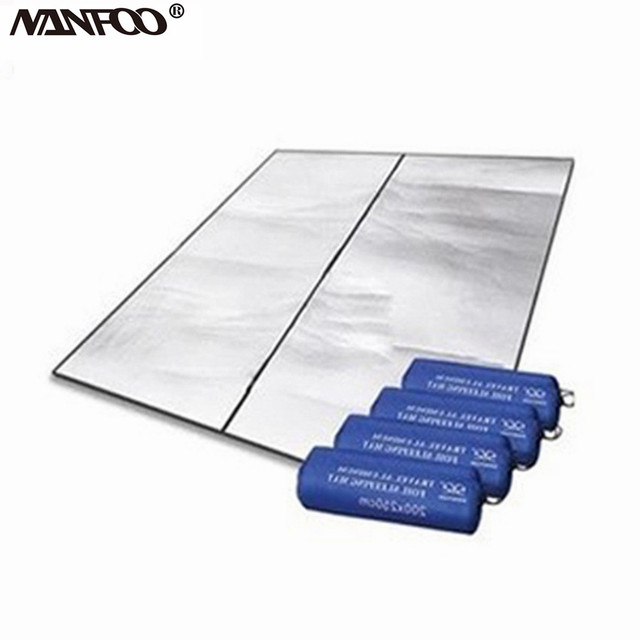 Outdoor 200 X 200 cm Double-side Aluminum Foil Moistureproof 3-4 Person Camping Tents Floor Mat Picnic & Rest Matm Crawling Pad