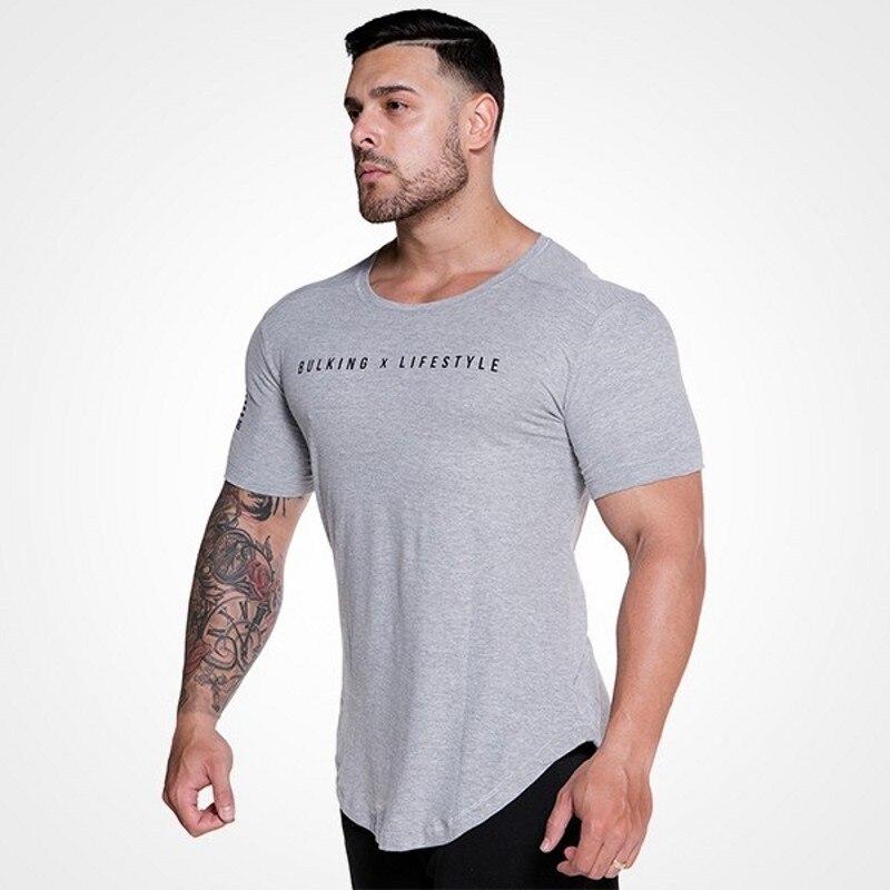 Men Fitness TShirt Bodybuilding Top Tee Man Cotton Summer Cool Skull Shortsleeve