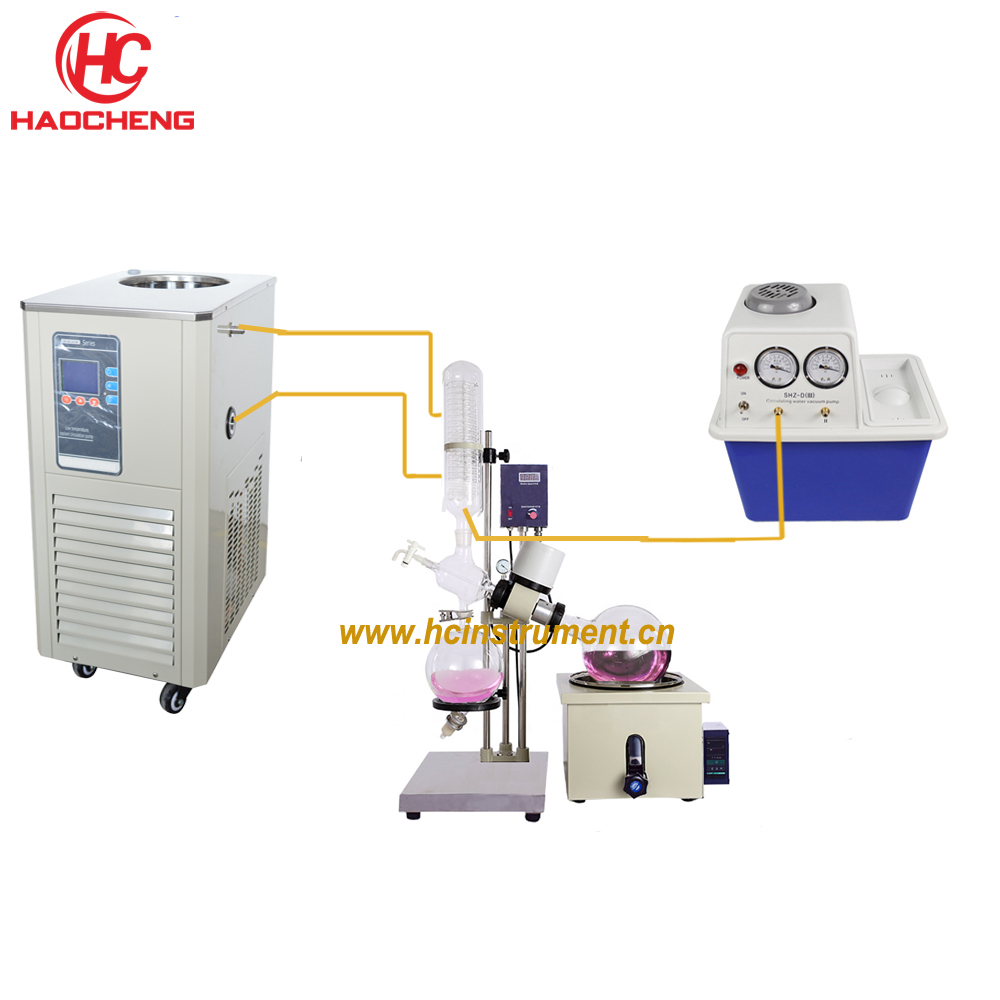 Free shipping Hot Sales 5L Manual Lift CBD BHO Solvent Vacuum Rotary Evaporator with Chiller and