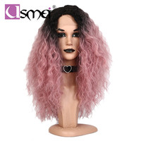 USMei long wavy ombre color synthetic pink wig lace front natural hairline Heat Resistant fiber hair perucas cosplay wig