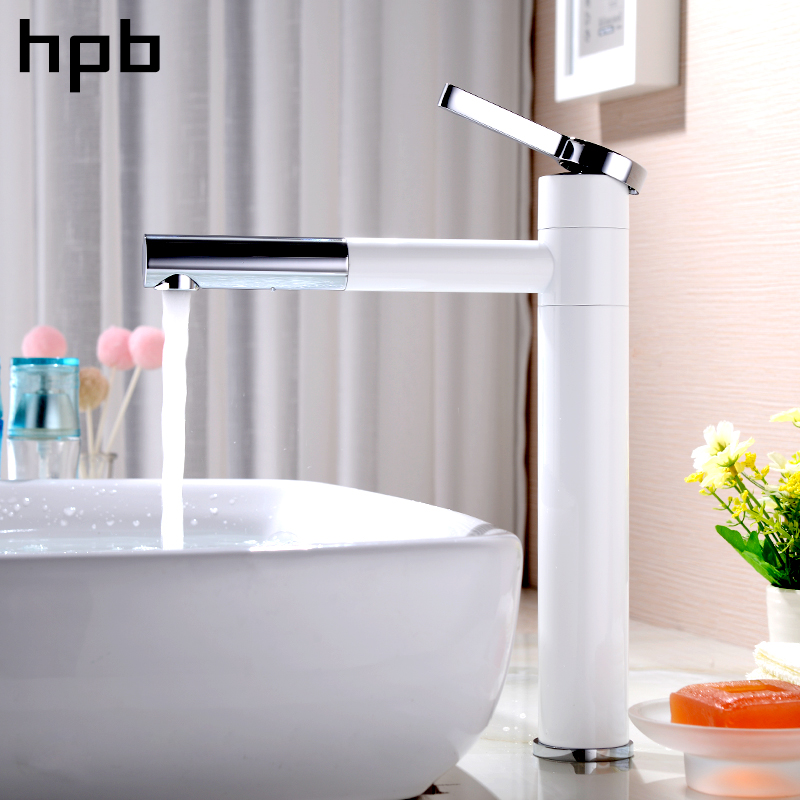 HPB 360 Degree Rotation Tall Basin Faucet White Black Chrome Washbasin Bathroom Sink Mixer Tap Hot And Cold Water Brass hpb square style tall basin faucet water tap chrome finished bathroom sink mixer single handle hot and cold hp3132