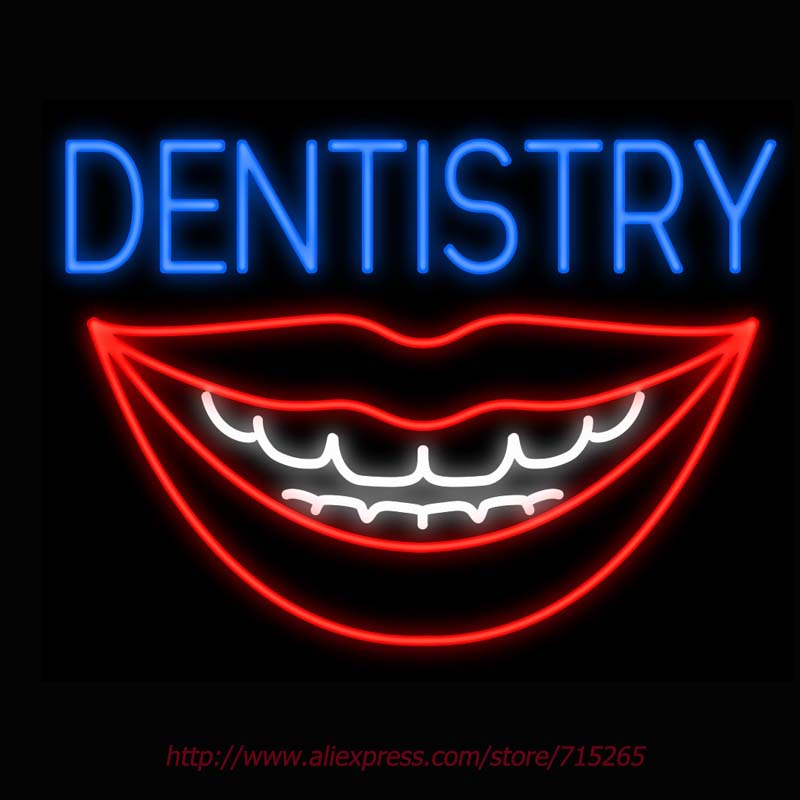 Neon Sign Dentistry Mouth Smile Real Glass Tube Handcrafted neon signs Custom Health Store Display ADVERTISE Free Design 31x24