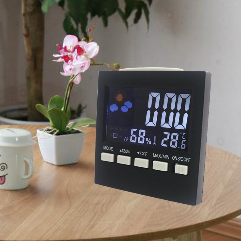 цена Digital Temperature Humidity Meter Sound Control Indoor Weather Station LCD Backlight with Alarm Clock Snooze Calendar Function