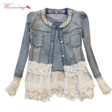 Female Casual Acrylic Lace Patchwork Denim Jackets Women Long Sleeve Spliced Reg