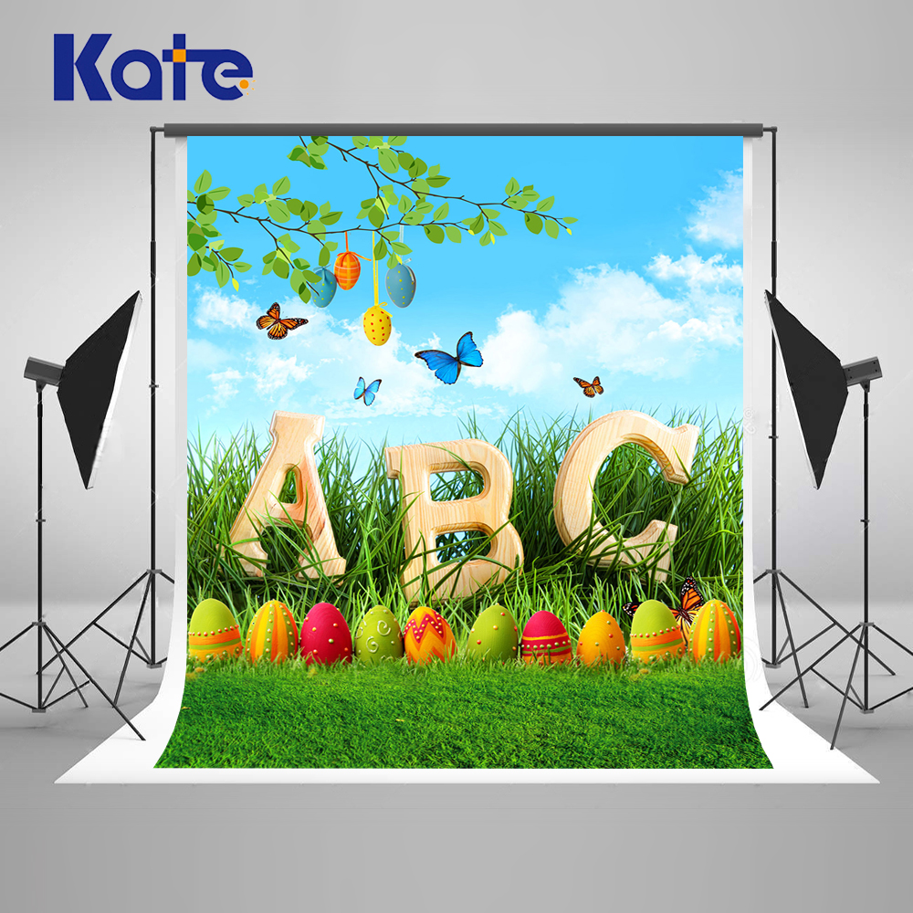 Kate Easter Photo Backgrounds Eggs Butterfly Backgrounds For Photo Studio ABC Children Photography Props Custom Photo Backdrops spring background photography for kids photos green screen photography backdrops children photo props custom made backgrounds