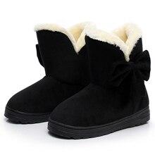 KHTAA Snow Boots Winter Female Ankle Boots Warmer Plush Bowtie Fur Suede Rubber Flat Slip On Fashion Platform Women's Shoes