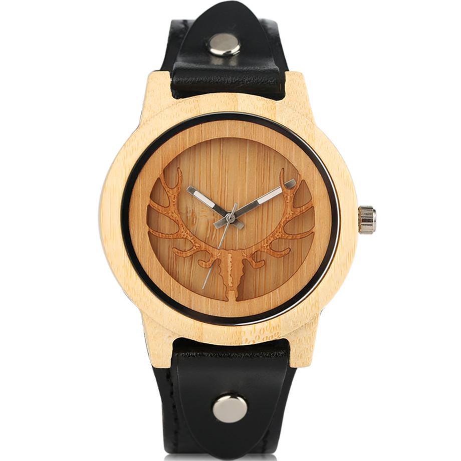 Steampunk Men Wooden Watch Skeleton Elk Head Carving Dial Black Punk Bracelet Creative Teenagers Wood Wristwatch Cool Gift Clock (1)