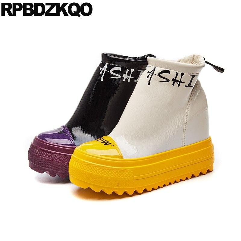 3f7861b62 Redondo Zapatos Fetiche Pie Patente Cuero Oculto Muffin De Las Cuña Del  Alta Tacón Dedo Mujeres Purple Plataforma ...