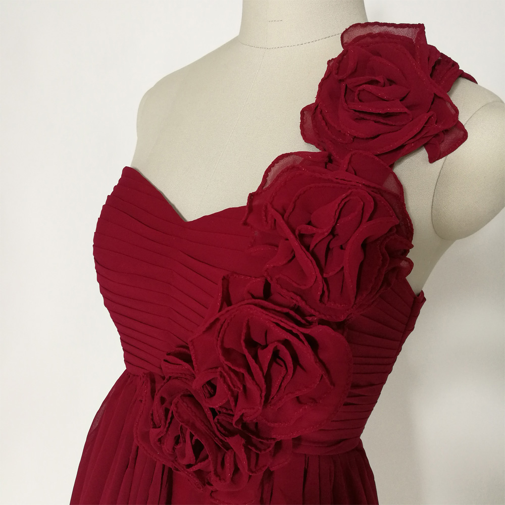 JIERUIZE Burgundy Chiffon One Shoulder Short Prom Dresses Flowers ...