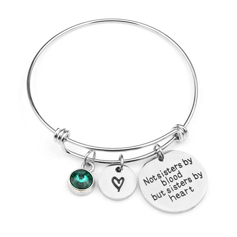 """Not sisters by blood but sisters by heart""Birthstone Bangle Bracelets Stainless Steel Charm Bracelet For Women Friendship Gift"